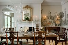 Traditional Dining Room Decor Ideas With Formal Style Elegant Dining Room, Luxury Dining Room, Dining Room Design, Classic Dining Room, Bedroom Classic, Traditional Dining Rooms, Traditional House, Traditional Kitchens, Traditional Bedroom
