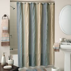Bring color into your bathroom without overpowering it when you hang this attractive curtain