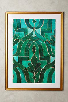Home Decor Blue Moroccan Tile Wall Art by Artfully Walls in Blue Decor at Anthropologie.Home Decor Blue Moroccan Tile Wall Art by Artfully Walls in Blue Decor at Anthropologie Frames On Wall, Framed Wall Art, Wall Art Decor, Wall Décor, Wall Art Boho, Wall Art Uk, Moroccan Art, Moroccan Tiles, Art Mural
