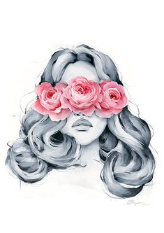 Rose blindfolded Rose blindfolded – Polina Bright This image has get 2 rep… - Everything About Painting Kreative Portraits, Art Drawings Sketches, Pencil Drawings, Rose Art, Portrait Art, Painting & Drawing, Painting Of Girl, Wall Art Prints, Watercolor Paintings