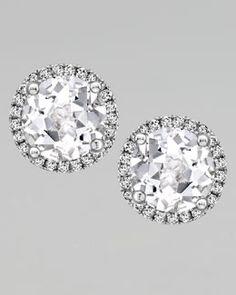 Kiki McDonough Grace White Topaz & Diamond Stud Earrings