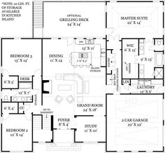 Mystic Lane House Plan: 1 story, 2365 square foot, 3 bedroom, 2 full bathrooms