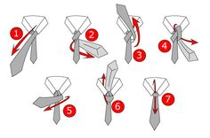 A step by step illustration of how to tie a tie. This illustration uses numbers to show the steps of this process