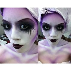 CORPSE BRIDE HALLOWEEN GOTH MAKEUP, FULL BODYPAINT AIRBRUSHING LA... ❤ liked on Polyvore featuring beauty products, makeup, people, goth makeup and gothic makeup