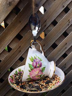 Garden Bird Feeders, Hanging Bird Feeders, Garden Ornaments, Teacup, Gifts For Mom, Etsy Shop, Decoration, Birthday, Handmade Gifts
