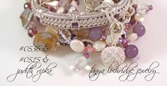 Tanya Lochridge Jewelry Purple Banded Agate & Czech Glass 3-Strand Bracelet stacked with a Judith Ripka amethyst cuff. #judithripka #tanyalochridgejewelry