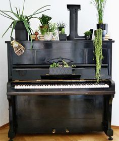 piano decorated with plants from Urban Jungle: living and styling with ~ETS Upright Piano Decor, Image Emotion, Piano Room Decor, Piano Living Rooms, Painted Pianos, Black Piano, Old Pianos, Design Bestseller, Black Decor