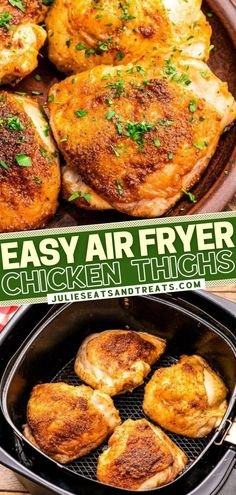 Once you try this recipe, you will be adding it to your regular rotation! Thanks to the Air Fryer, these chicken thighs come out perfectly cooked every time — tender and juicy with a delicious flavor and crispy skin. The perfect healthy dish for a quick and easy dinner! Chicken Thights Recipes, New Chicken Recipes, Recipe Using Chicken, Turkey Recipes, Veggie Side Dishes, Side Dish Recipes, Food Dishes, Main Dishes, Appetizer Recipes