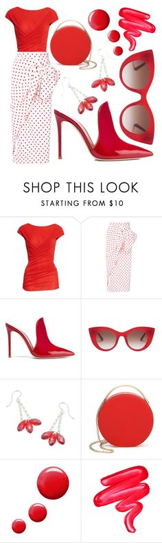 """Red Hot"" by avagoldworks on Polyvore featuring FUZZI, Bambah, Gianvito Rossi, Thierry Lasry, Eddie Borgo, Topshop, Lime Crime and avagoldworks"
