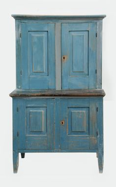 19th c country pine stepback cupboard blue painted finish molded ...