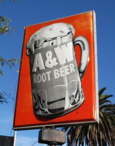 A & W Root Beer Sign Modesto CA & G St they still bring your food to your car on rollerskates Modesto California, California Dreamin', A&w Restaurants, A&w Root Beer, Vintage Tin Signs, American Graffiti, Vintage Restaurant, Beer Signs, How To Make Beer