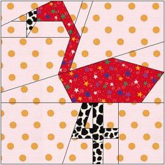 ALL STITCHES - FLAMINGO PAPER PIECING QUILT BLOCK PATTERN .PDF -098A