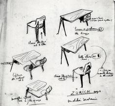 Croquis de mobilier scolaire