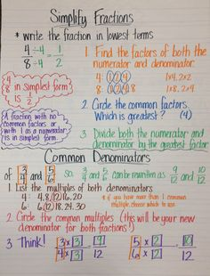 Fourth Grade Fractions: Simplify Fractions and Common Denominators anchor chart Simplifying Fractions, Math Fractions, Multiplication, Adding Fractions, Math Math, Ged Math, Dividing Fractions, Equivalent Fractions, Math Charts