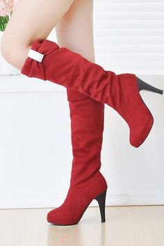 Red Faux Suede Rhinestone Heels Boots