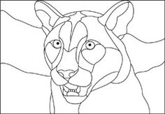 stained glass cougar design pattern + many others! @ http://www.karalstudio.com/glass/stained-glass-designs-free.html