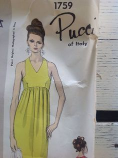 VCD 1759 Emilio Pucci Backless evening dress c/c+tag sld Vintage Vogue, Vintage Fashion, Vintage Ideas, Retro Vintage, Vogue Patterns, Emilio Pucci, Pattern Fashion, Evening Dresses, Backless