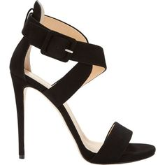Barneys New York Crisscross-Strap Sandals (235 CAD) ❤ liked on Polyvore featuring shoes, sandals, black, suede shoes, ankle tie sandals, open toe sandals, ankle wrap sandals and black sandals