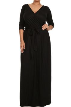 Modern Kiwi Solid V-Neck Long Sleeve Wrap Plus Size Maxi Dress Black Lightweight, semi-sheer rayon. Fits true to size. Plus Size Maxi Dresses, Dresses For Work, Women's Dresses, Mother Of Groom Outfits, Plus Size Boutique, New Years Eve Outfits, Thing 1, Maxi Wrap Dress, Plus Size Women