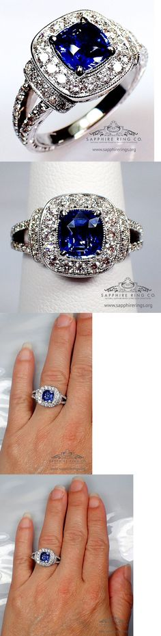 Other Engagement Rings 164308: Gia Certified 18Kt 2.10 Tcw Blue Cushion Ceylon Natural Sapphire And Diamond Ring BUY IT NOW ONLY: $3999.0
