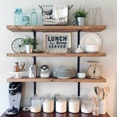 Decoration shelf decorating shelves in living room Farmhouse Cabinets, Farmhouse Style Kitchen, Country Kitchen, Open Kitchen, Modern Farmhouse, Farmhouse Decor, Bar Kitchen, Farmhouse Ideas, Kitchen Reno