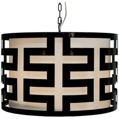 Worlds Away 3-Light Powder Coat Greek Key Pendant HICKS BL
