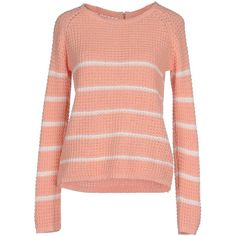 Only Jumper ($28) ❤ liked on Polyvore featuring tops, sweaters, salmon pink, lightweight sweaters, pink long sleeve top, cotton zip sweater, pink sweater and long sleeve tops