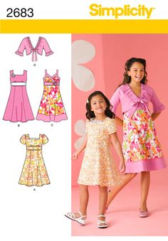 Child or Girl Dresses and Jacket Sewing Pattern 2683 Simplicity