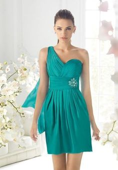 One-Shoulder Sweetheart Sheath Satin Cocktail Dress with a Drop P3103