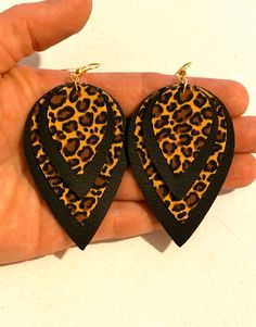 Excited to share this item from my shop: Layered black genuine leather cheetah print fabric teardrop leaf earrings animal petal boho hippie women statement jewelry unique stylish Diy Leather Earrings, Fabric Earrings, Leather Ring, Fabric Jewelry, Leaf Earrings, Diy Earrings, Leather Jewelry, Diy Teardrop Earrings, Jewelry Crafts