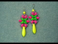 Starflower Earrings With Superduo Beads *******************************************************