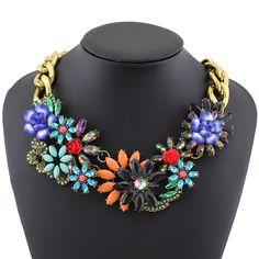 2014 Fashion Necklace Wholesale Shourouk Chain Chunky Choker Statement Necklace & Pendant Fashion Fower Necklace Women-in Chain Necklaces fr...