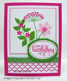 handmade birthday card ... bouquet of stamped flowers from Summer Silhouettes ... Gumball Green and Melon Mambo with white ... luv the look ... Stampin' Up!