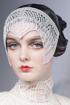 Backstage Beauties at Bora Aksu Show. Headpieces knit by Maison Pristine