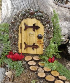 Handmade Fairy Door, Gnome Door, Hobbit Door, Elf Door, Troll Door, Miniature Garden Fae Door.. 19.95, via Etsy.
