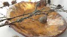 ceramic, talerz szkliwiony na miodowy kolor