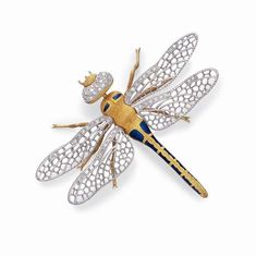 A DIAMOND, GOLD AND ENAMEL DRAGONFLY BROOCH, BY BUCCELLATI Set with a textured 18k gold body and legs with blue enamel detail, extending 18k white gold and single-cut diamond openwork wings, to the pavé-set diamond head