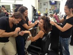 My queen Kristian Alfonso got the glam team getting her ready for filming