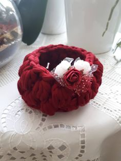 Handmade Basket. Dark Red Crochet Basket. Home Decor. Small Crochet Basket. Crochet Bowl. Handmade Basket. Made to Order. Colors Available by YellowStoneDecor on Etsy