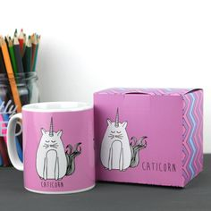 Cat Unicorn Mug and Box by MagpieNeon on Etsy