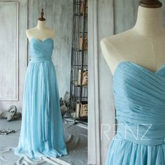 2016 Light Blue Bridesmaid dress Long Ruched Chiffon by RenzRags