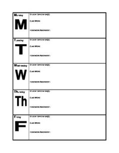 Great way for students to keep track of their daily class work, expectations, & homework. This can be used as a graphic organizer for the students binder or you can also enlarge the product & create a poster which you fill in on a daily basis. Homework Checklist, Student Binders, Graphic Organizers, Planners, Back To School, Fill, Track, Students, Organization
