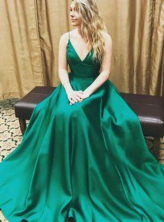 Fashion V Neck Green Prom Dress,Cheap A Line Long Prom Dress 2018, Green Party Dress Evening Dress