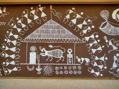 Worli Painting, Coffee Painting, Indian Art Paintings, Wall Paintings, Art Frames, Framed Art, Wall Art, Indian Folk Art, Old Wall