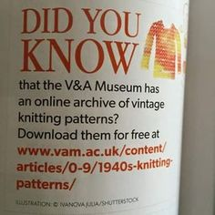 Free knitting patterns for all friends! When you are in London you can use the library (membership for free) and have a look in old knitting books. Loom Knitting, Knitting Stitches, Knitting Patterns Free, Knit Patterns, Hand Knitting, Vintage Patterns, Knitting Books, Mode Crochet, Knit Or Crochet