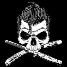 """moderngrease: """" Greaser Psychobilly Rockabilly Skull Art """" Plus Rockabilly Tattoos, Rockabilly Rebel, Rockabilly Artwork, Skull Tattoos, Tatoos, Tatoo Crane, Teddy Boys, Gothabilly, Oldschool"""