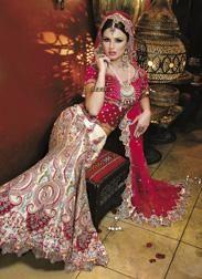 Red and white bridal lehnga sai fashions london