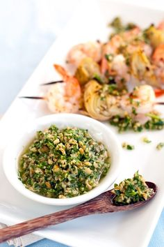 On the grill or in the broiler, these shrimp & artichoke skewers are the perfect accompaniment to our green olive dipping sauce—made with our Olives Gigante Olive Recipes, Italian Recipes, Artichoke Recipes, Cold Pasta, Shellfish Recipes, Specialty Foods, Skewers, Kebabs, Fresh Garlic