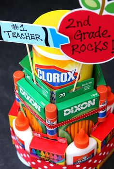 Make this fun school supply cake for your child's teacher this year.