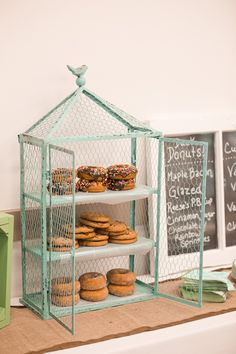 Wedding donuts and cookies instead of cake in a mint shabby chic chicken wire display
